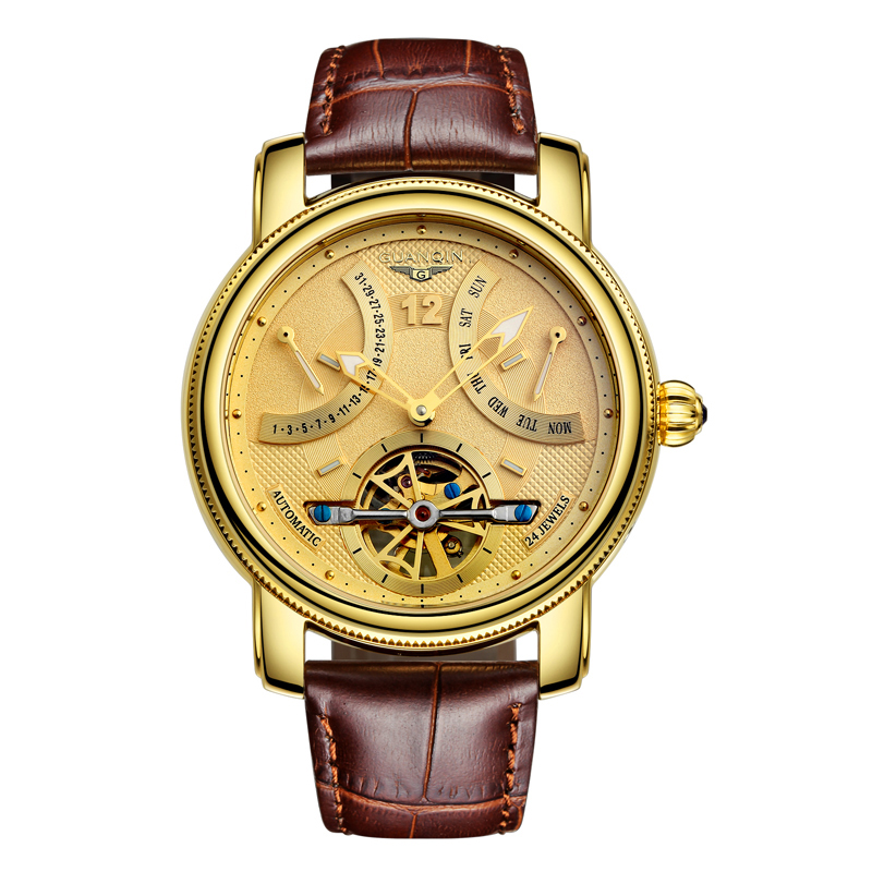 GUANQIN GJ16009 watches men luxury brand 2018 Mechanical Automatic Tourbillon clock skeleton gold week month Wristwatch rosdn luxury men gold watches famous brand men s automatic mechanical watch mans gold skeleton mechanical wristwatch