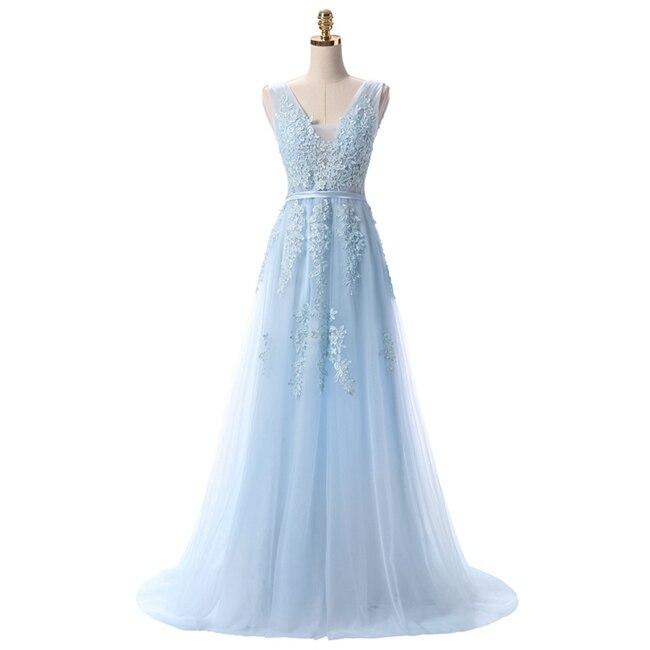 Robe De Soiree SSYFashion, кружевное, с бисером, сексуальное, с открытой спиной, длинное вечернее платье, для невесты, банкета, элегантное, длина до пола, для вечеринки, выпускного вечера - Цвет: Light Blue