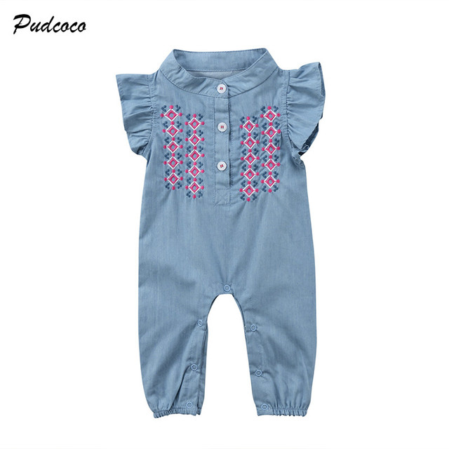 d641d308cf57 Embroidered Newborn Baby Girl Denim Romper Ruffles Sleeve Soft Jeans Infant  Kids Jumpsuit Outfits Sunsuit Clothes