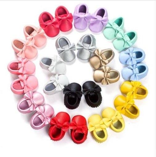 Hongteya PU Leather Baby Boy Girl Baby Moccasins Moccs Shoes Bow Fringe Soft Soled Non-slip Footwear Crib Shoes