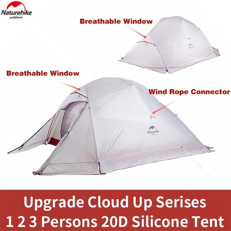 Naturehike Wolke Up Outdoor Camping Zelt Ultraleicht 1 2 3 mann 20D Silica Gel Einzigen Doppel Personen Zelt Wandern Camping