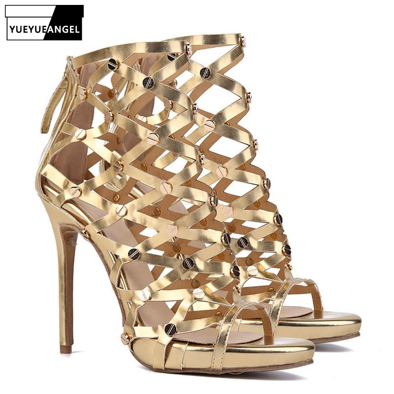 Fashion Night Club Sexy Hollow Out Super High Heel Womens Sandals Patent Leather Gladiator Golden Party Beading Shoes Large SizeFashion Night Club Sexy Hollow Out Super High Heel Womens Sandals Patent Leather Gladiator Golden Party Beading Shoes Large Size
