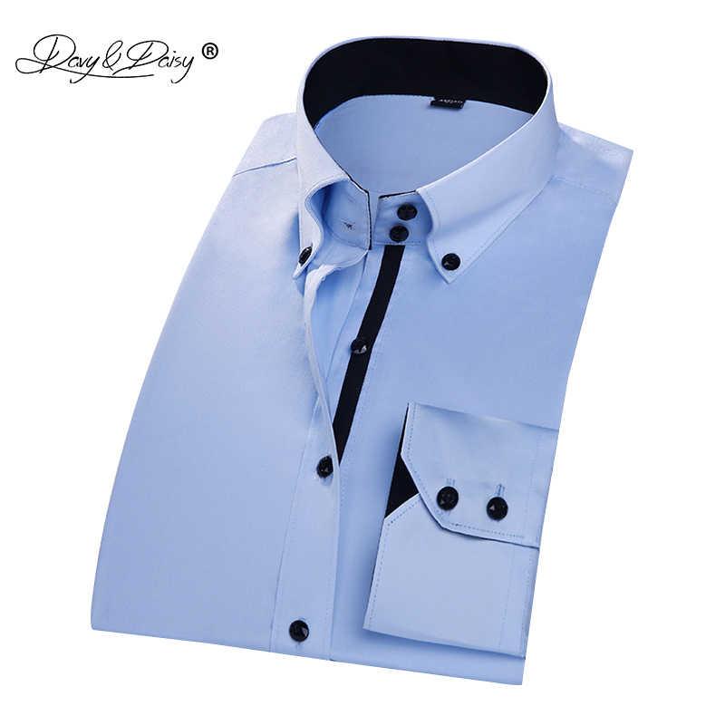 DAVYDAISY 2018 Новое поступление Высококачественная Весенняя Мужская рубашка с двойной пряжкой мужские однотонные рубашки с длинными рукавами camisa masculina DS205