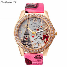 Best Deal Quartz Watch Women Fashion Tower Pattern Diamond Dial Watches Men Faux Leather Watch Women