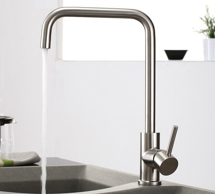 SUS 304 Brushed Nickle Single Lever 360 degrss Kitchen Faucet Stainless Steel Deck Mounted Hot and Cold Kitchen Mixer Tap 3100 304 stainless steel kitchen faucet mixer cold hot kitchen tap single hole water tap torneira cozinha 248 33