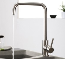 SUS 304 Brushed Nickle Single Lever 360 degrss Kitchen Faucet Stainless Steel Deck Mounted Hot and Cold Kitchen Mixer Tap 3100