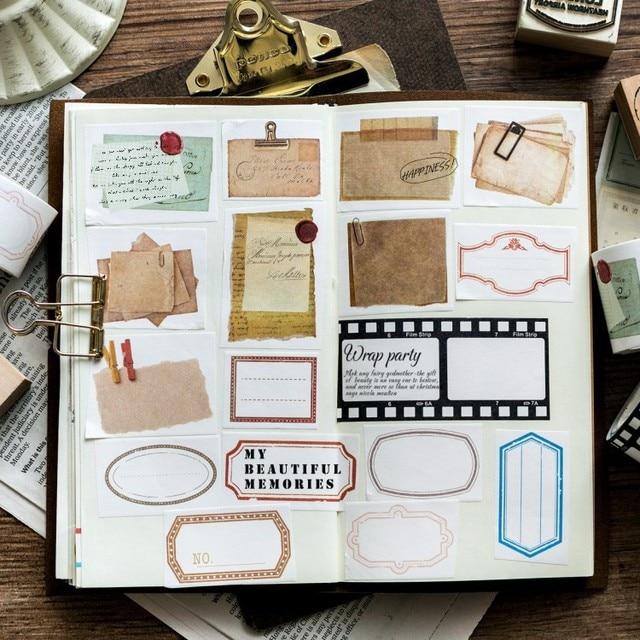 vintage writable memo square ticket stub letter base background function decoration washi tape diy planner diary