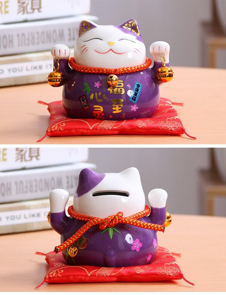 Foto Maneki Neko (Gato de la suerte) de cerámica color violeta para la buena suerte
