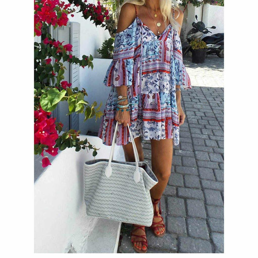 Женские модные летние новые богемные платья без рукавов на тонких бретелях с цветочным принтом, повседневные пляжные макси длинные платья для женщин в стиле бохо