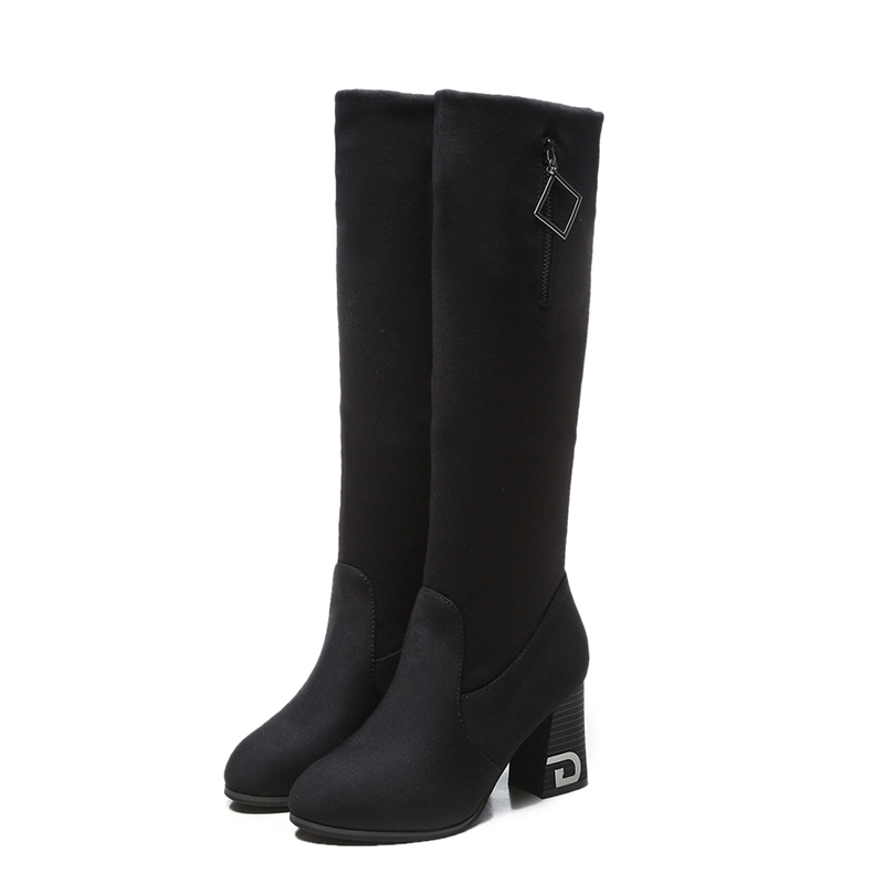 Elastic Cloth Thick With Womens Boots Spring And Autumn Single Boots 2018 New But Knee Boots In The Boots Womens Round HeadElastic Cloth Thick With Womens Boots Spring And Autumn Single Boots 2018 New But Knee Boots In The Boots Womens Round Head