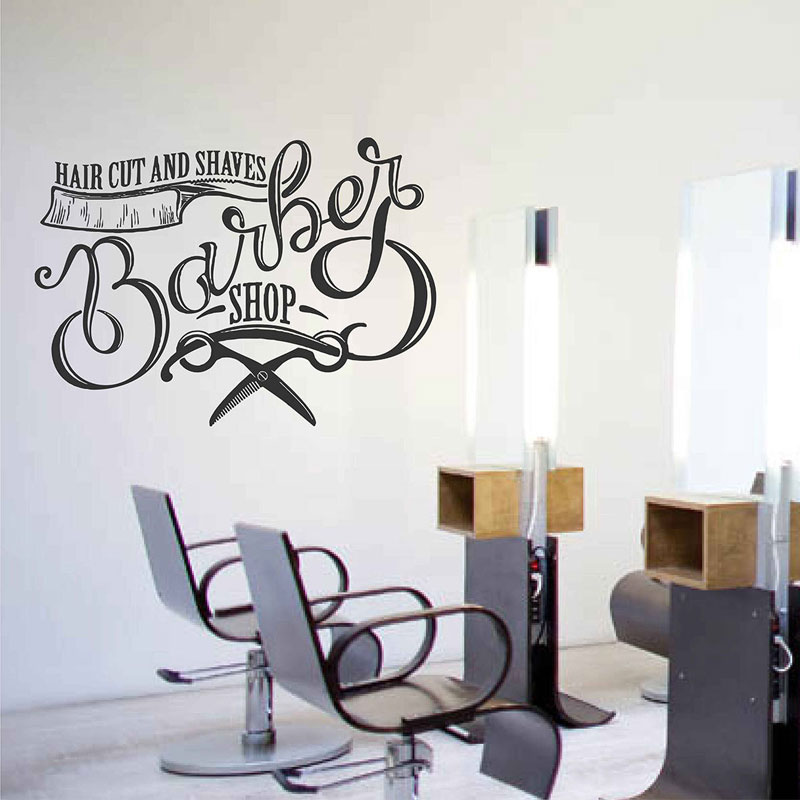 Barber Shop Design Wall Sticker Hair Cut And Shaves Vinyl Decals Window Decoration Salon Removable Mural Wallpaper A144