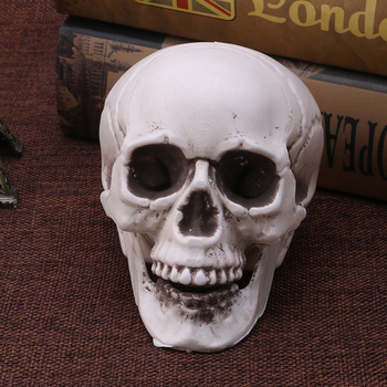 Skull Decor Prop Skeleton Head Plastic Halloween Day Coffee Bars Ornament 1
