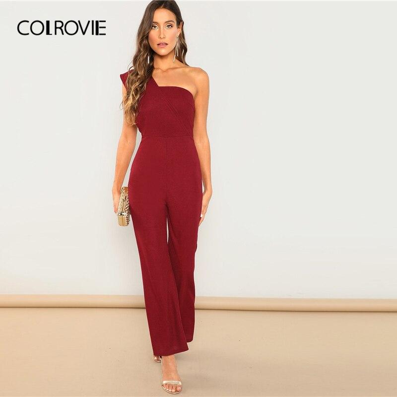 4b3c8f6628f COLROVIE Burgundy Solid Christmas One Shoulder Flared Elegant Jumpsuit  Women 2019 Spring Sleeveless Office Sexy Skinny