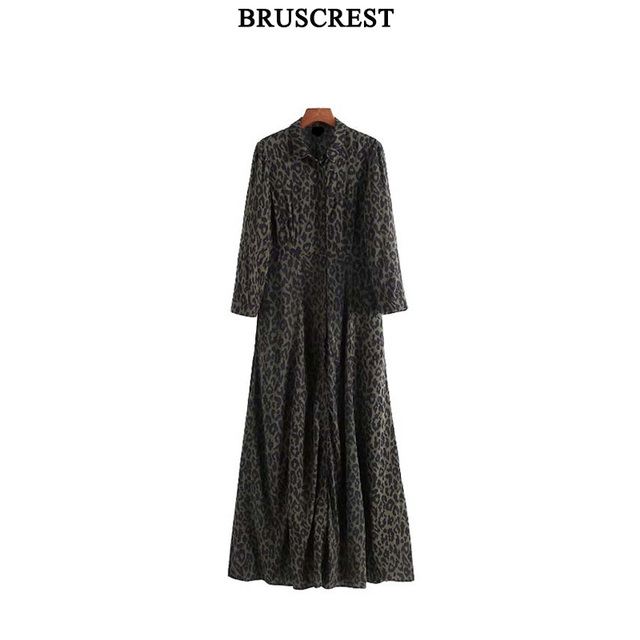 0d71608c43a Long sleeve women dress elegant green leopard print maxi dress pockets  vintage casual dresses vestidos Autumn vestidos