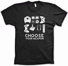 Hight Quality Men's Summer Tee Choose Your Weapon Gamer Shirt Video Game Controller T shirt Cotton Short Sleeve Tshirt S-3XL