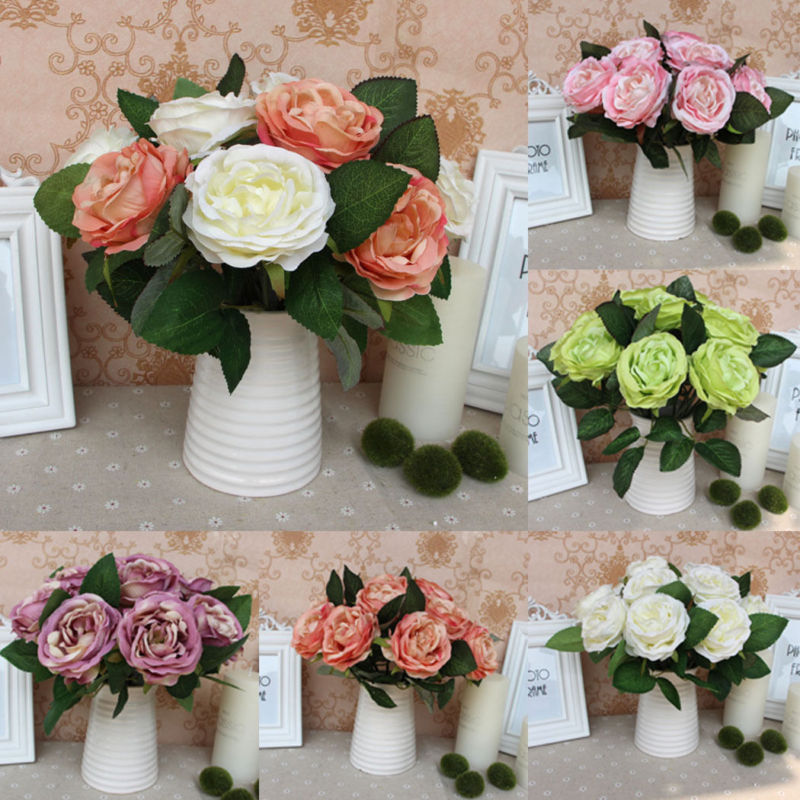 Rose bridal craft silk flower european bouquet artificial for Fake flowers for crafts