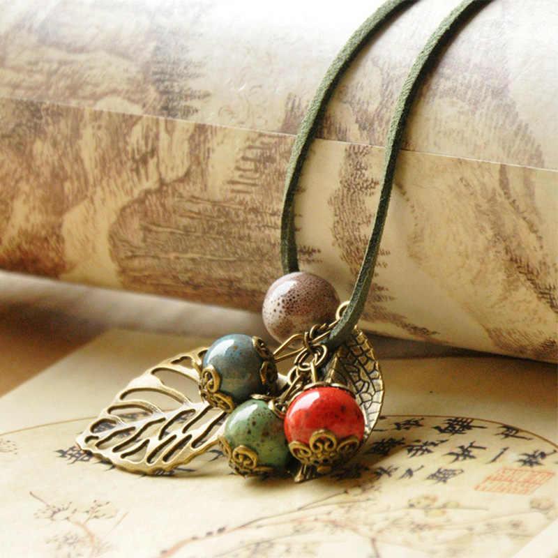 Collares de cuero para mujer rosa flor hueco hoja pendientes de hoja gargantilla cuentas de cerámica PU cordón accesorios de joyería en cadena