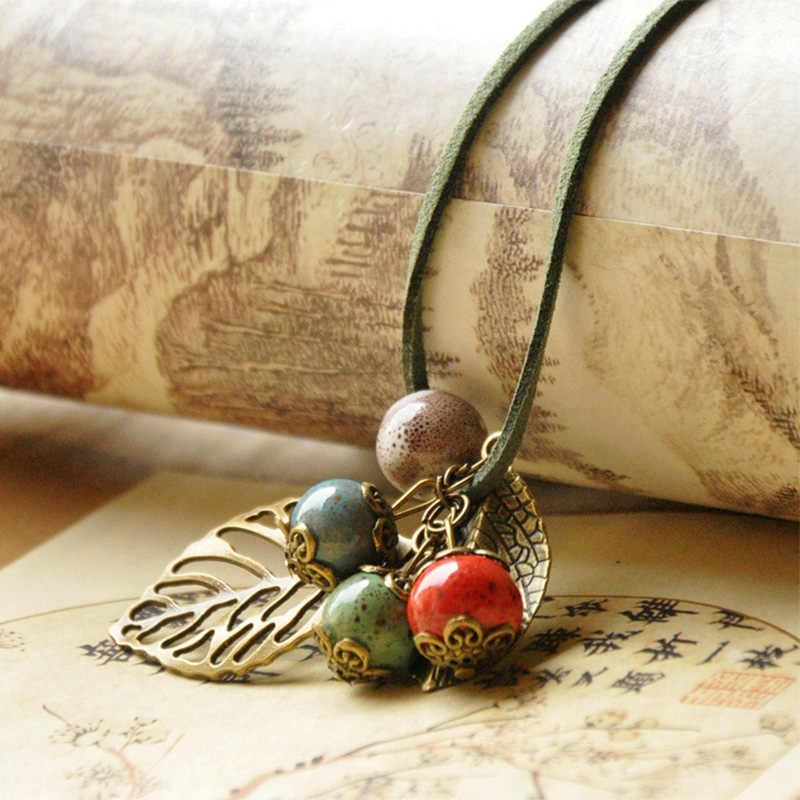 Women Leather Necklaces Rose Flower Hollow Leaf Charm Leaves Pendants Choker Ceramic Beads PU Cord Chain Jewelry Accessories