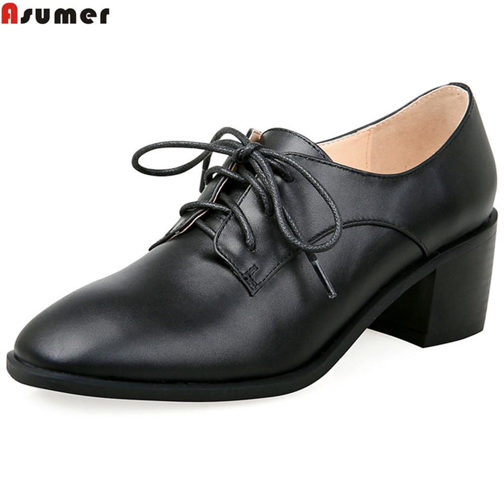 ASUMER fashion spring autumn women pumps square toe lace up genuine leather shoes square heel black apricot high heels shoes siketu 2017 free shipping spring and autumn women shoes fashion sex high heels shoes red wedding shoes pumps g107