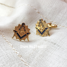Masonic Sunburst Cuff Link Sleeve Button for the Lodge Masonry Square and Compass Soft Enamel Metal Craft Free Masons Cufflinks