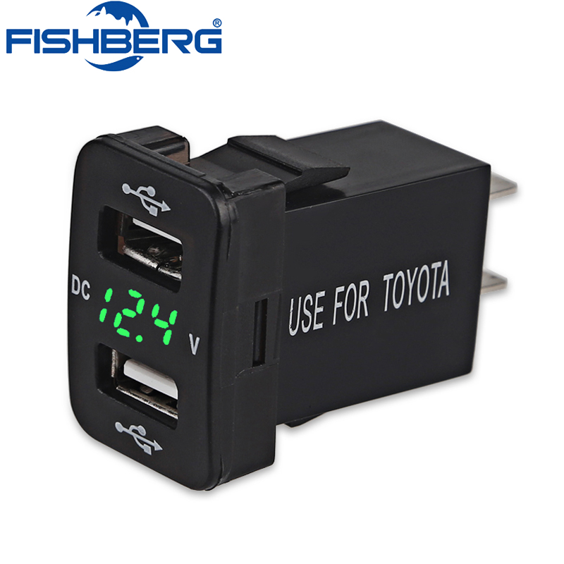FISHBERG 1PCS 4.2A for Toyota Dual USB Car Charger Power Adapter Socket TOYOTA 12V 24V Car Phone Charger