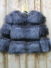 2015The new fashion  Genuine Leather Fox Fur  Zipper   Package mail   Natural Color  Batwing Sleeve  Female coat