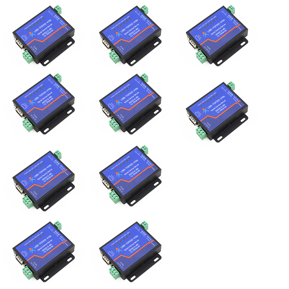 Q18039-10 10PCS USR-TCP232-410S Terminal Power Supply RS232 RS485 to TCP/IP Converter Serial Ethernet Serial Device Server q18040 usriot usr n520 serial to ethernet server tcp ip converter double serial device rs232 rs485 rs422 multi host polling