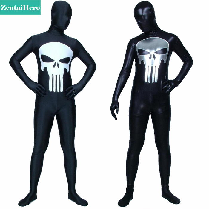 ZentaiHero NEW Full Bodysuits The Punisher Costume Lycra And Shiny Zentai Suits For Halloween And Cosplay 17032905