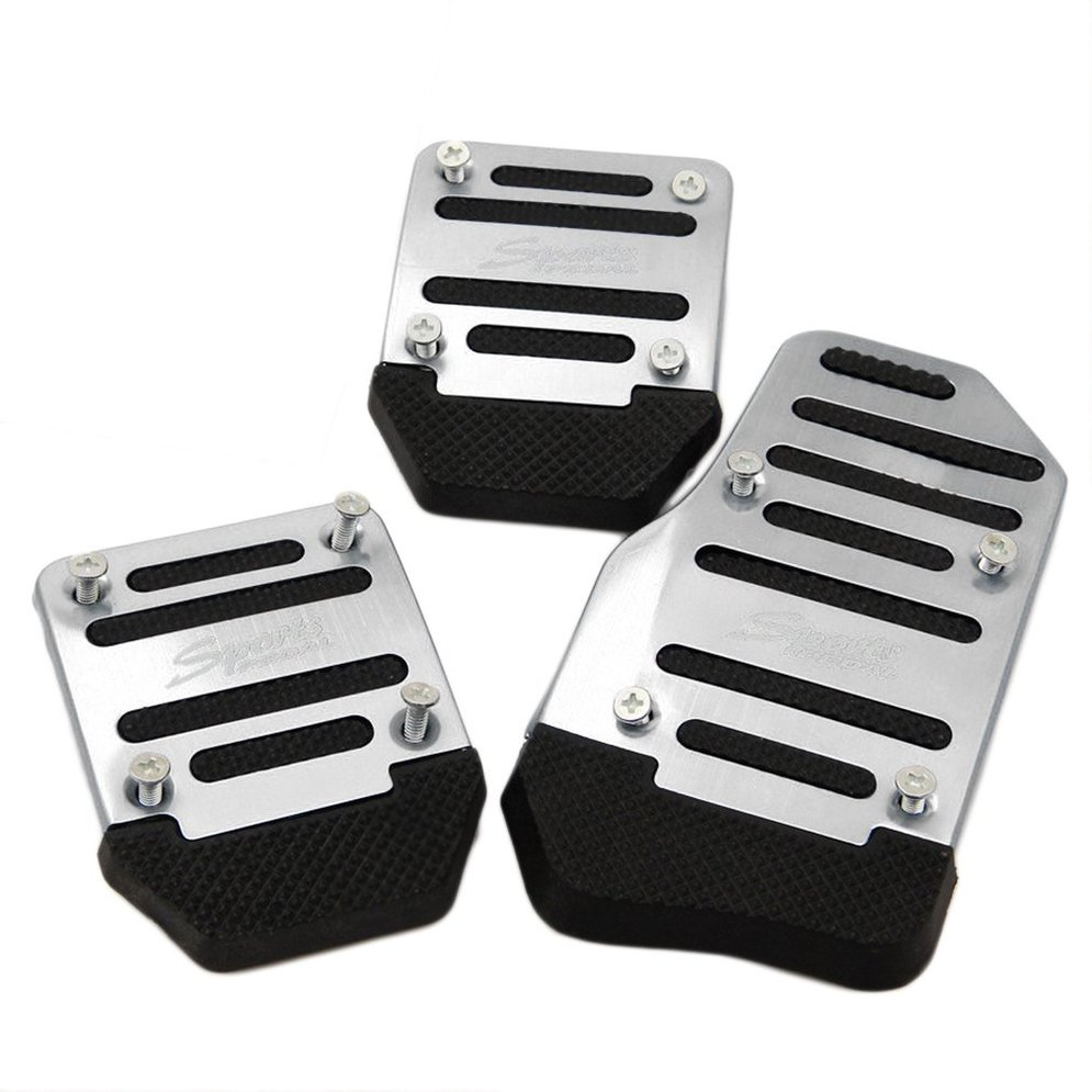 3pcs Car Vehicle Non-slip Alloy Pad Pedal Aluminium Foot Treadle Cover reduce foot fatigue safe for driving
