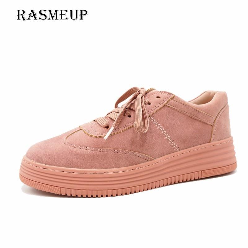 Vulkanisierte Damenschuhe Frauen Schuhe Ausdauernd Rameup Echtem Leder Frauen Turnschuhe 2018 Mode Rosa Frauen Lace Up Weiß Wohnungen Frau Casual Plattform Schuhe Creeper Schuhe