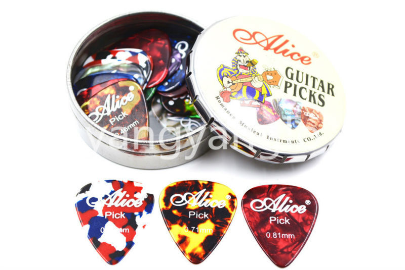 Alice Big Round Metal Pick Holder Case Box 20pcs Pearl Celluloid - Երաժշտական գործիքներ - Լուսանկար 1