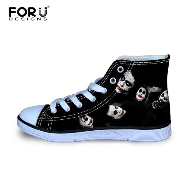 850399d8e54 FORUDESIGNS Классические Высокого Верха Обуви Холст Для Женщин Смешно Харли  Квинн Джокер Печатных Обувь Женщина Случайные