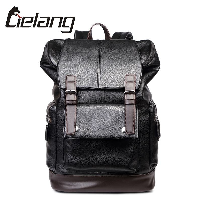 ФОТО LIELANG Brand Top PU Leather Men's Backpacks High Quality Laptop Bags Men Travel Bagpack Casual Computer Backpack for 15 Inch