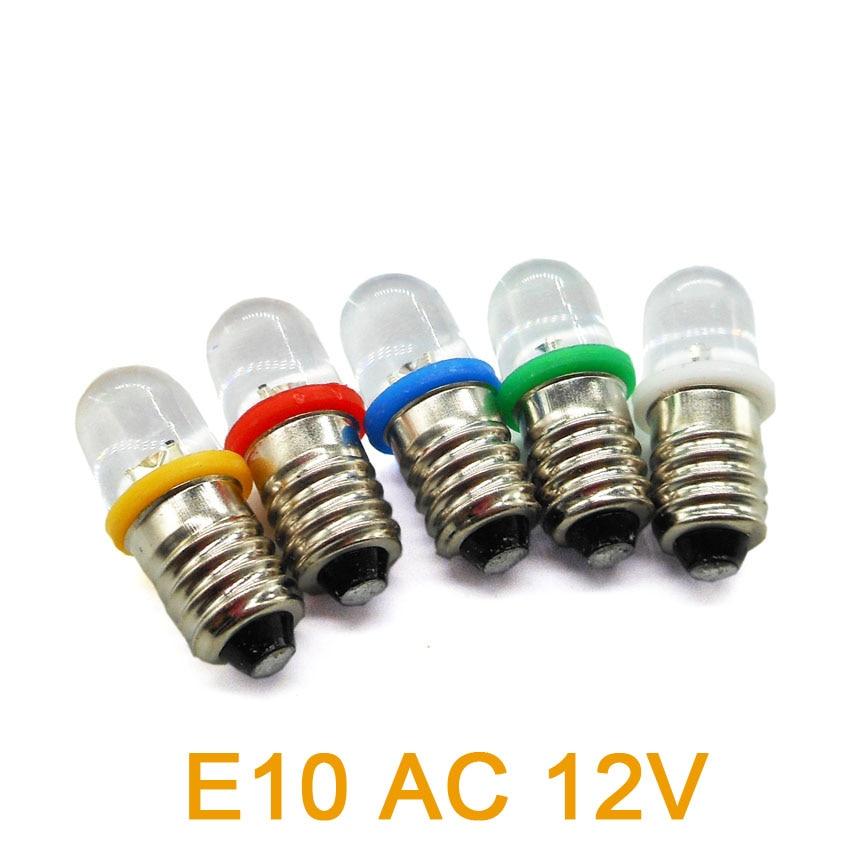 E10 Screw Lamp Light Beads AC 12V Indicator Bulb Indicator / Warning Light / Signal LED Bead
