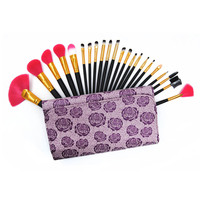 Professional Soft 22 Pcs Natural Hair Cosmetics Makeup Brushes Set With Leather Brush Bag Pincel Maquiagem