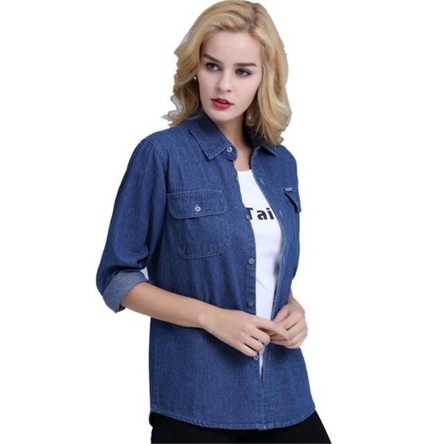 Plus Size Denim Shirt Women Thin Summer Pockets Casual Long Sleeve Jeans Blouse Button Solid Cotton Blusa Bluzki Damskie Ds50601 2