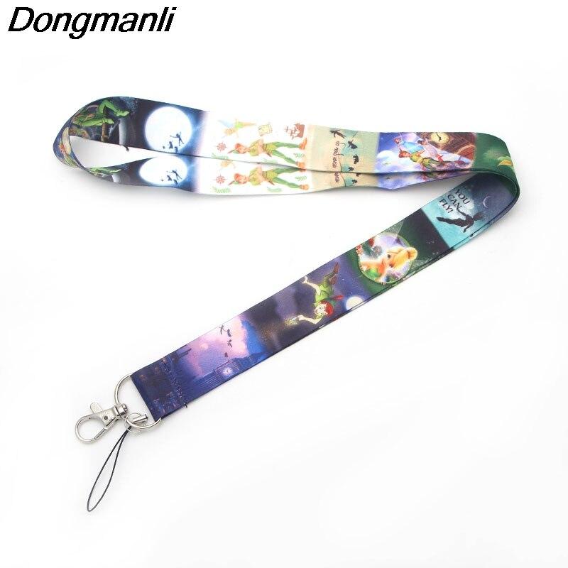 P1920 Dongmanli Peter Pan Kids Keychain Lanyard Badge ID Lanyards/ Mobile Phone Rope/ Key Lanyard Neck Straps Jewelry