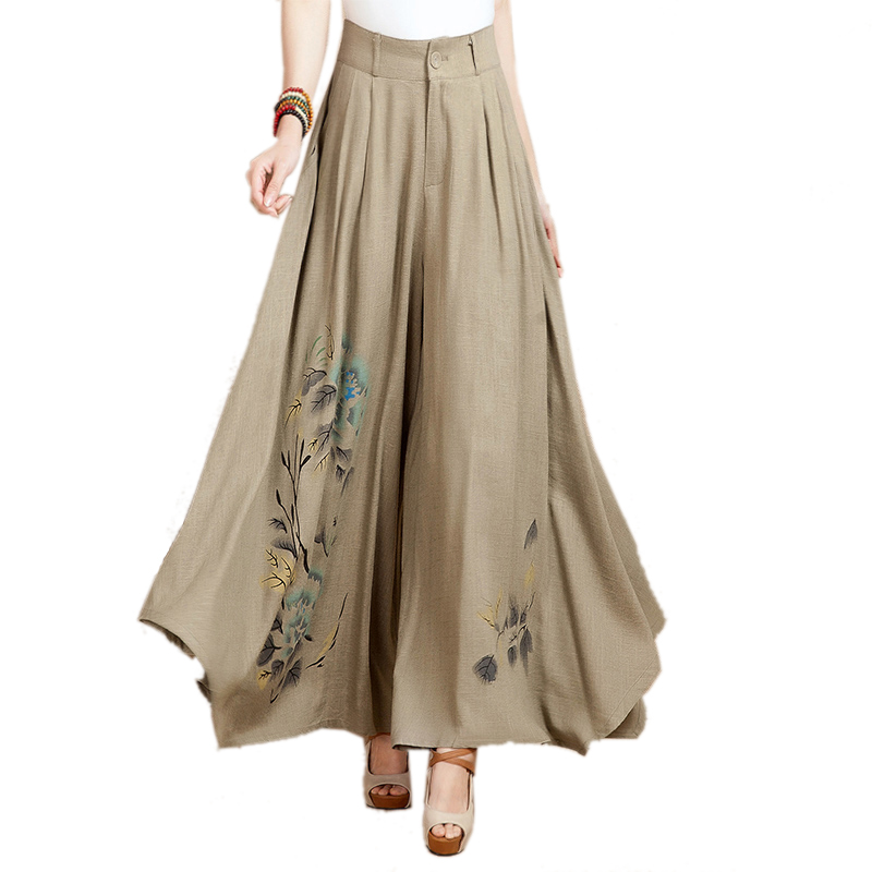 2019 Spring Autumn National Trend Linen Female Wide Leg Pants Culottes Pants Casual Boot Cut Trousers