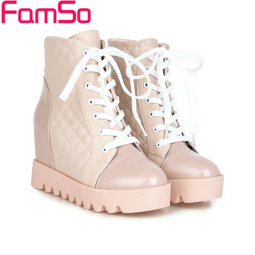 Plus Size34 43 2016 new Fashion font b Women b font Spring Autumn Martin boots Wedges