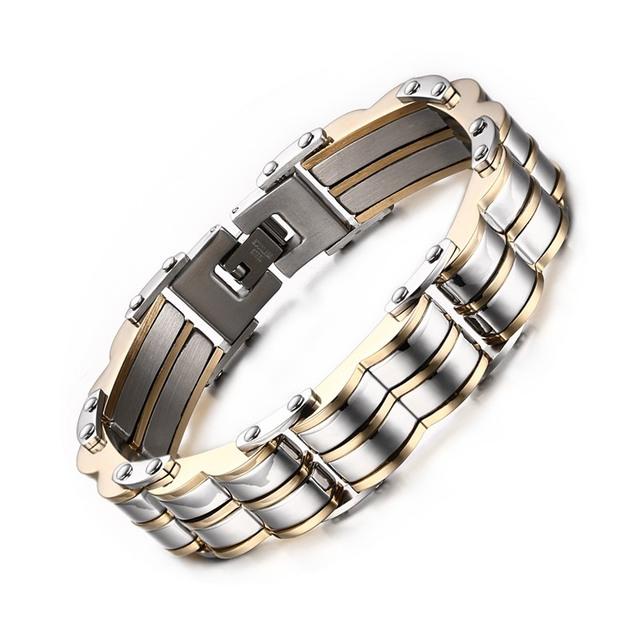 Meaeguet Homens Da Moda pulseiras & bangles pulseiras de aço inoxidável dupla corrugação pulseiras para o presente de natal dos homens