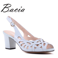 Bacia Sheep Skin Sandals Hollow Design Comfortable Summer Shoes Women Blue Genuine Leather High Quality Shoes