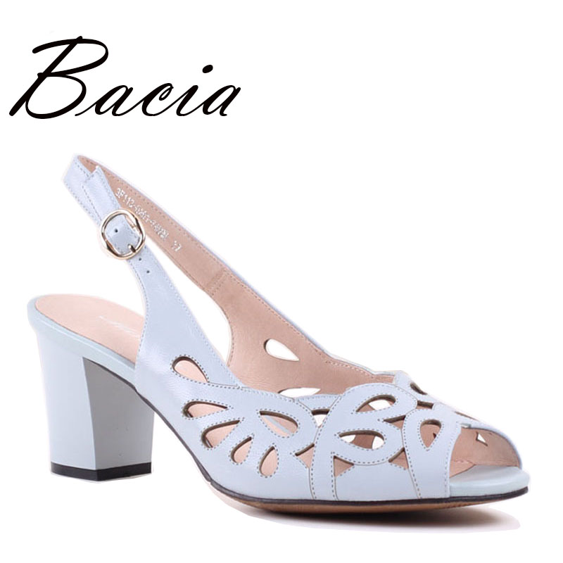 Bacia Sheep Skin Sandals Hollow Design Comfortable Summer Shoes Women Blue Genuine Leather High Quality Shoes Size 33-41 SA029
