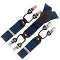 Azul marinho Elastic Clip-on Suspensórios Adulto Cinto de Couro Genuíno Y-back-estilo ocidental calças do homem cinta suspensórios 6 clipes QBD5605