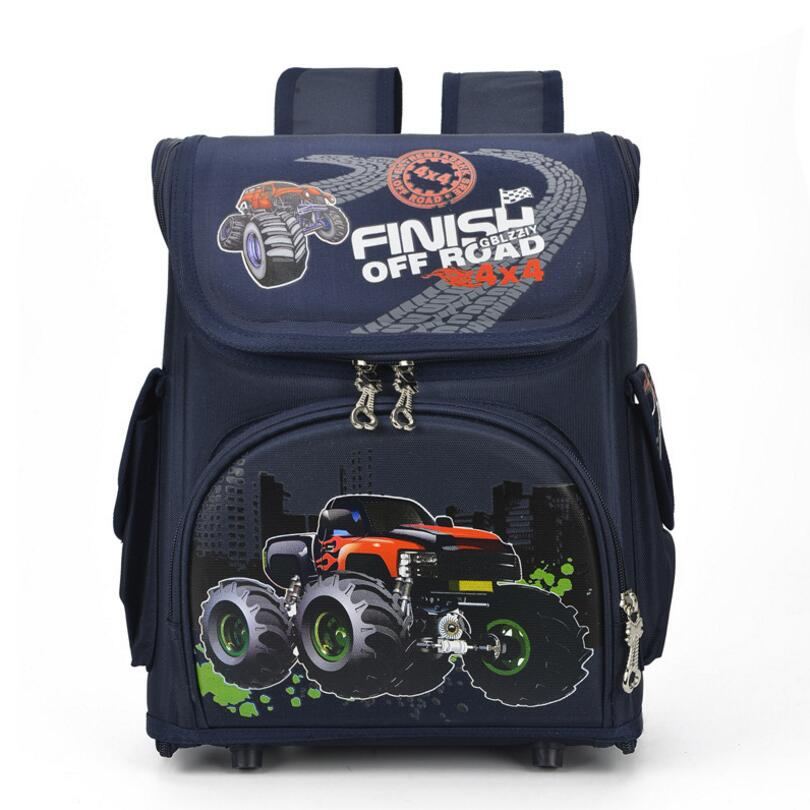 Russia Style Boys Racing Cars School Bags Backpacks Nylon Primary Students Orthopedic Bag Girls Cartoon Owl Bird Kids Knapsack