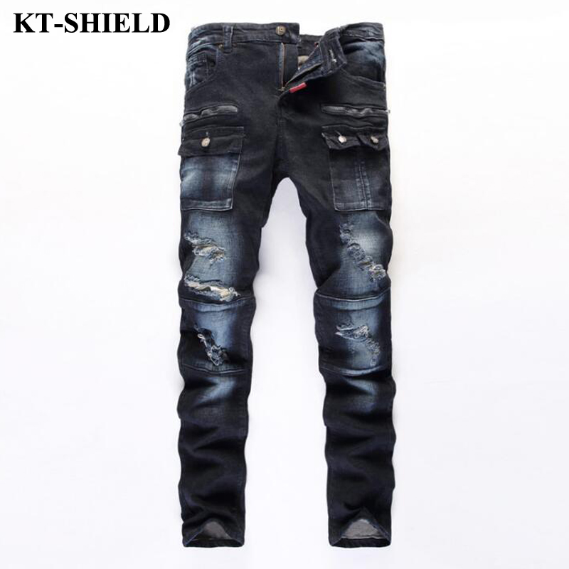 high quality men's jeans pants brand fashion skinny men jeans designer slim fit denim trousers 100% cotton ripped jeans pants