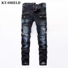 Высокое качество мужские джинсы брюки марка мода тощие мужчин джинсы дизайнер slim fit джинсовые брюки 100% хлопок рваные джинсы брюки
