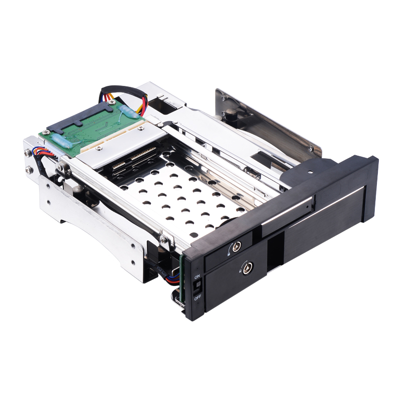 Optical Bay Aluminum 2.5+3.5in Multi-function SATA Internal Hot Swap HDD Mobile Rack For Dual Tray-less Enclosure