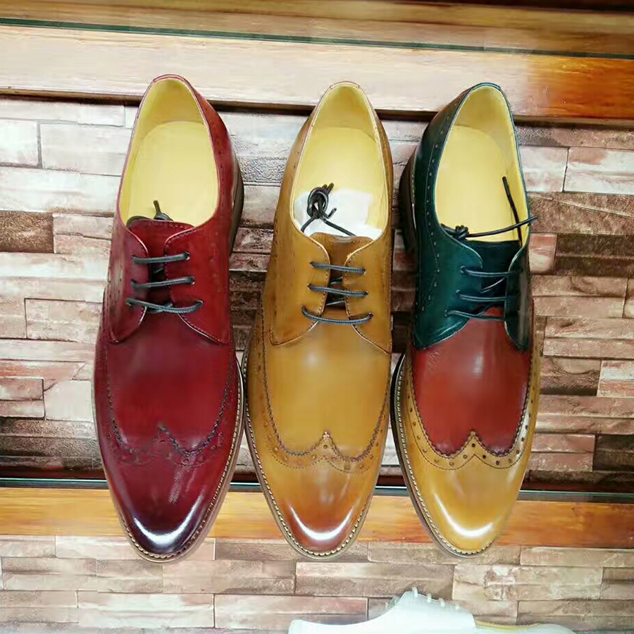 Yinzo men Genuine Leather brogues shoes men's lace up Sheepskin red Flats Shoes Handmade men dress shoes 2018 spring spring nubuck genuine sheepskin leather up