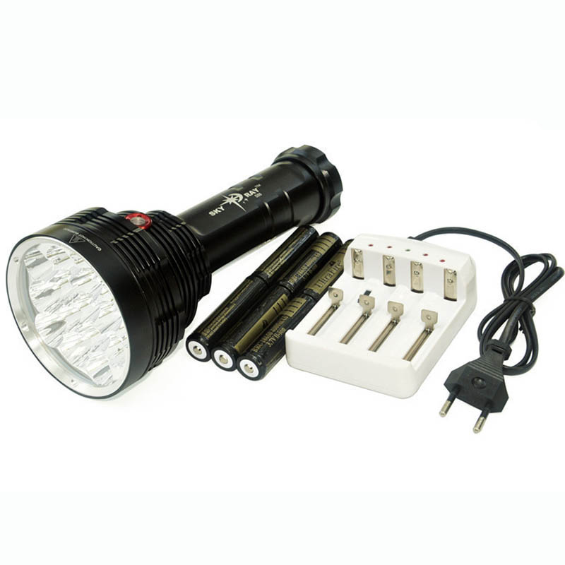 Super Bright FlashLight 20000 Lumen 3 Mode 16 x T6 LED Flashlight Torch LED Light + 6 X 18650 3000mah Battery + AC Charger ultrafire m3 t60 3 mode 910 lumen white led flashlight with strap black 1 x 18650