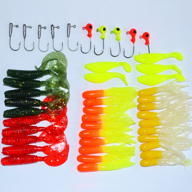 bouti1583 Many Fishing Lures Bait Tackle Soft Small Jig Head Box Set Simulation Suite